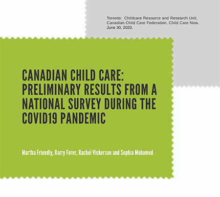 Cover of Canadian child care: Preliminary results from a national survey during